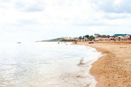coastline of Sea of Azov, Temryuk bay in Golubitskaya resort, Kuban, Russia