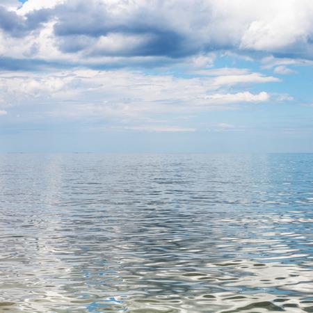 kuban: square waterscape with blue sky and calm water of Sea of Azov, Temryuk bay, Golubitskaya resort, Taman peninsula, Kuban, Russia Stock Photo