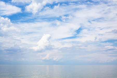 taman: natural background - white clouds over calm blue water Sea of Azov, Temryuk bay, Golubitskaya resort, Taman peninsula, Kuban, Russia