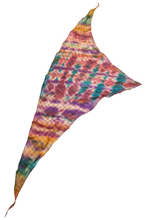 triangular scarf from hand painted linen batik isolated on white background