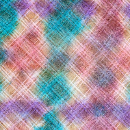 mastery: textile background - hand painted checkered pattern on linen batik fabric close up
