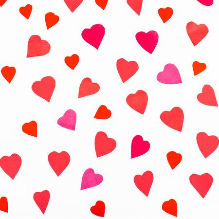 Viele Rote Herzen Ausgeschnitten Aus Papier Auf Weißem Hintergrund ...