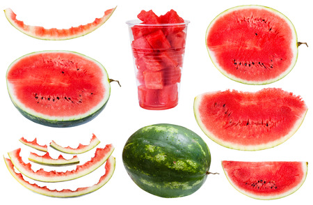 rinds: set from whole and sliced watermelons and rinds isolated on white background
