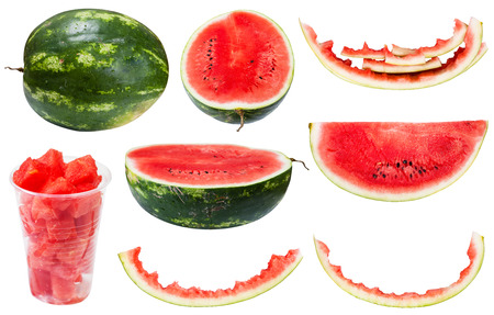 rinds: collection from whole and sliced watermelons and rinds isolated on white background