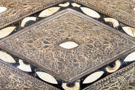 inlay: inlay and ornament on cover of traditional ancient arabic Casket close up