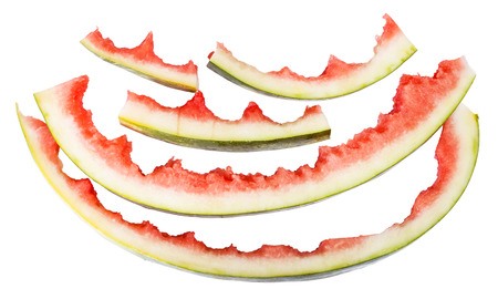 rinds: several watermelon rinds isolated on white background Stock Photo