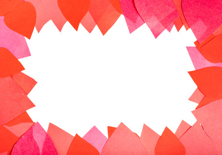 blank space framing by red and pink paper hearts close up