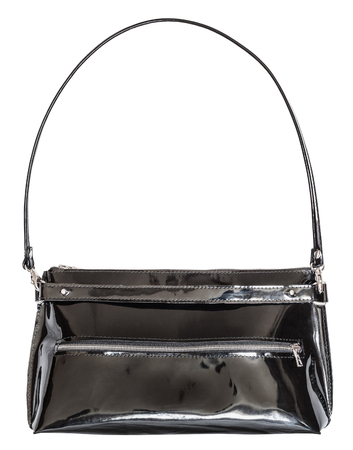 pochette: ladies handbag from black patent leather isolated on white background
