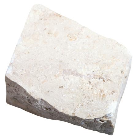 calcium carbonate: macro shooting of sedimentary rock specimens - chemogenic Limestone stone isolated on white background Stock Photo