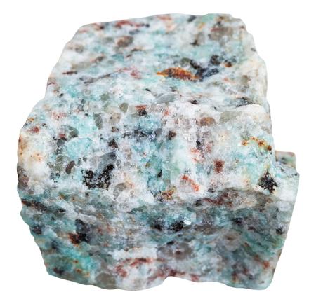 felsic: macro shooting of Igneous rock specimens - amazonitic granite mineral isolated on white background