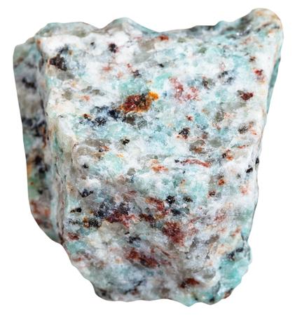felsic: macro shooting of Igneous rock specimens - amazonitic granite stone isolated on white background