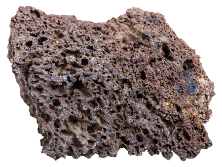 macro shooting of Igneous rock specimens - natural brown pumice mineral isolated on white background Standard-Bild
