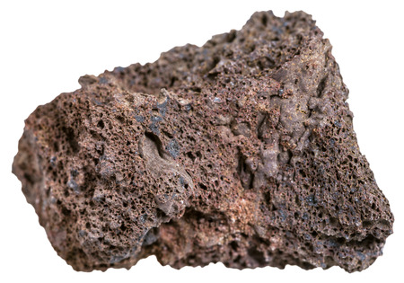 specimens: macro shooting of Igneous rock specimens - natural brown pumice stone isolated on white background