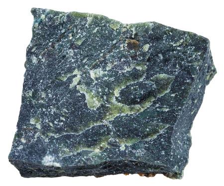 マクロ撮影 - 火成岩岩石の白い背景で隔離ダナイト (olivinite) ミネラル