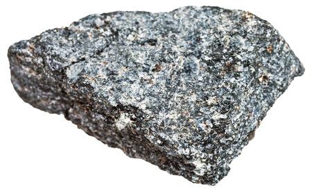 intrusive: macro shooting of Igneous rock specimens - nepheline syenite stone isolated on white background Stock Photo