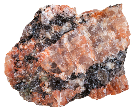 felsic: macro shooting of Igneous rock specimens - red granite mineral isolated on white background Stock Photo