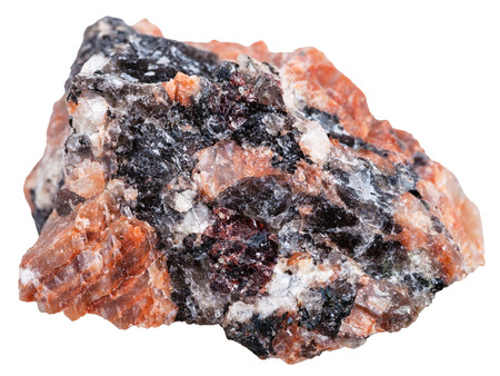 felsic: macro shooting of Igneous rock specimens - natural red granite stone isolated on white background Stock Photo