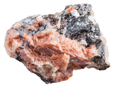 intrusive: macro shooting of Igneous rock specimens - red granite stone isolated on white background Stock Photo