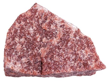 gemmology: macro shooting of metamorphic rock specimens - red Quartzite stone isolated on white background