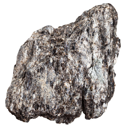 macro shooting of metamorphic rock specimens - quartz biotite schist mineral isolated on white background