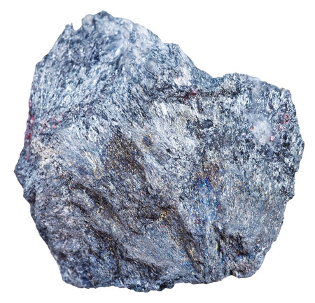 gemmology: macro shooting of mineral resources - antimony ore rock (Stibnite, antimonite) isolated on white background