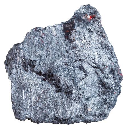 antimony: macro shooting of mineral resources - antimony ore specimen (Stibnite, antimonite) isolated on white background