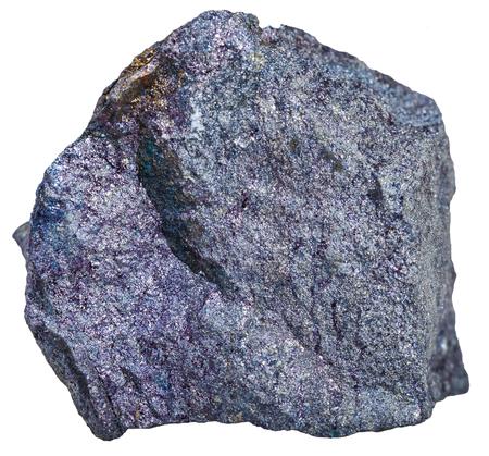 specimen: macro shooting of mineral resources - Bornite (peacock ore, peacock copper) specimen isolated on white background Stock Photo