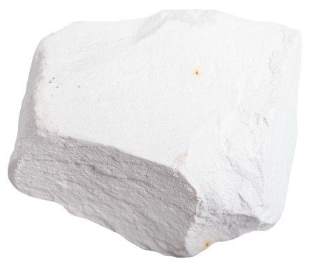 hydroxide: macro shooting of mineral resources - Chalk stone isolated on white background