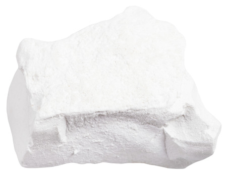 quicklime: macro shooting of sedimentary rock specimens - natural Chalk stone isolated on white background