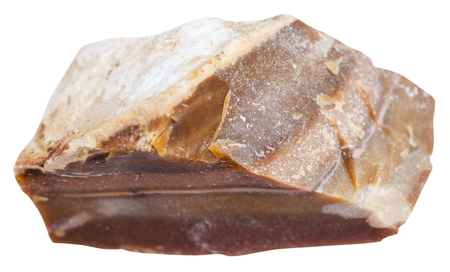 specimens: macro shooting of sedimentary rock specimens - brown flint stone isolated on white background