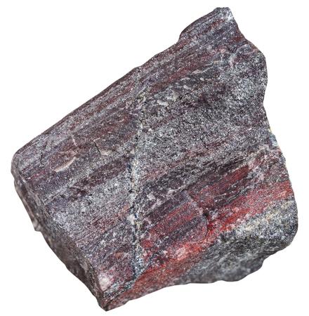quartzite: macro shooting of metamorphic rock specimens - jaspillite (jaspilite, ferruginous quartzite) stone isolated on white background