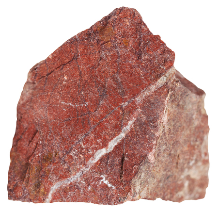 metamorphic: macro shooting of metamorphic rock specimens - piece of red jasper mineral isolated on white background Stock Photo