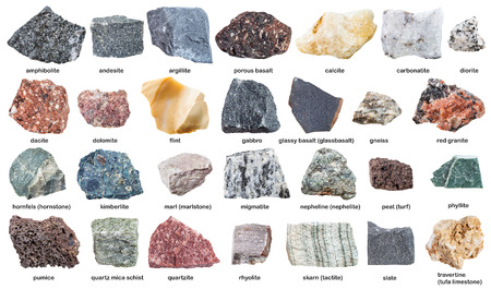 various raw stones with names isolated on white background