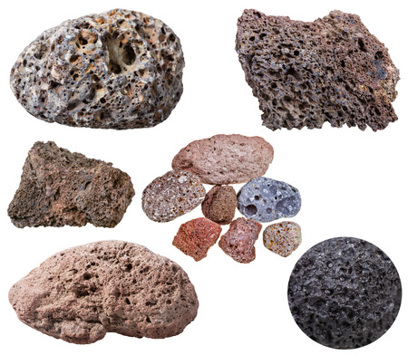 specimens: collection from specimens of various pumice stones isolated on white background