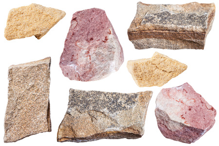 calcium carbonate: collection from specimens of various Sandstone rocks isolated on white background