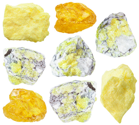 collection from specimens of sulfur (brimstone, sulphur) ore isolated on white background Stock Photo