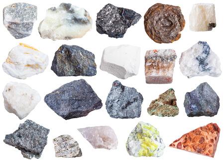 soapstone: collection of natural mineral specimens - apatite, anhydrite, chalk, molybdenite, bornite, halite, chromite, wolframite, antimonite, bauxite, barite, sulfur, talc, magnetite, limonite, etc, isolated