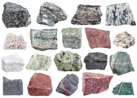 metamorphic: collection of metamorphic rock specimens - amphibolite, migmatite, quartzite, skarn, quartz, schist, listvenite, jasper, jaspillite, shale, coal, hornfels, slate, phyllite, gneiss, talc, etc, isolated Stock Photo