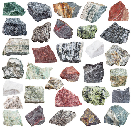 metamorphic: set of metamorphic rock specimens - amphibolite, migmatite, quartzite, skarn, quartz, schist, listvenite, jaspillite, shale, coal, serpentinite, hornfels, slate, phyllite, gneiss, talc, etc, isolated