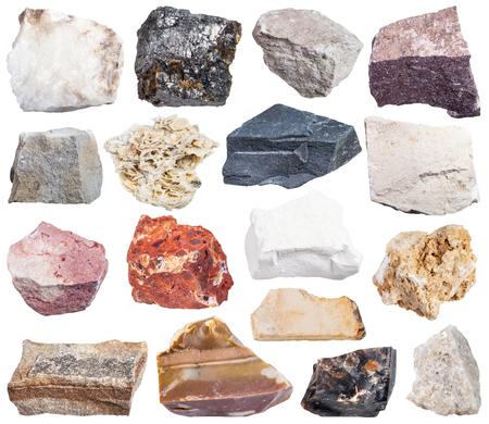 flint: set of sedimentary rock specimens - shale, conglomerate, argillite, mudstone, travertine, limestone, tufa, arenite, sandstone, coquina, bauxite, marl, dolomite, coal, flint, anhydrite, etc, isolated