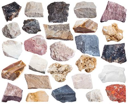 collection of sedimentary rock specimens - shale, conglomerate, argillite, mudstone, travertine, tufa, arenite, sandstone, coquina, bauxite, marl, dolomite, chalk, flint, anhydrite, etc, isolated