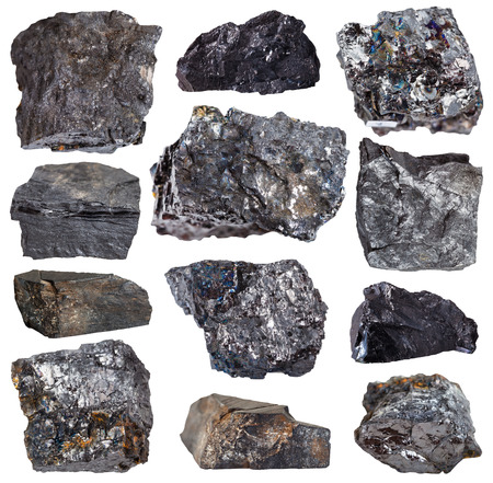 carbonaceous: collection from specimens of various coal minerals isolated on white background Stock Photo
