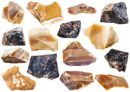 specimens: collection from specimens of flint stone isolated on white background Stock Photo
