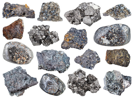 collection from specimens of magnetite ore isolated on white background