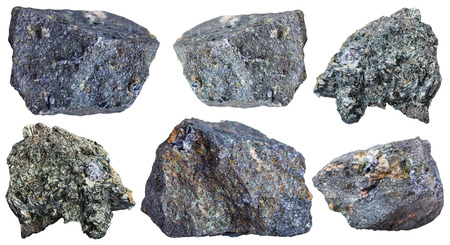 disulfide: collection from specimens of Molybdenite ore isolated on white background