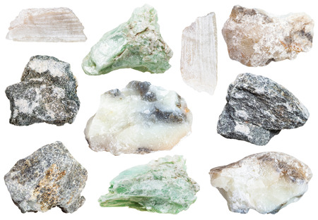 specimens: collection from specimens of talc and soapstone (steatite, soaprock) minerals isolated on white background