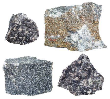 specimens: collection from specimens of Andesite rock isolated on white background