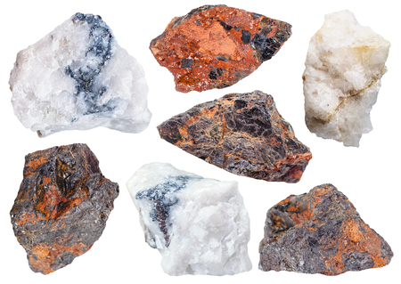 specimens: collection from specimens of Wolframite ores isolated on white background