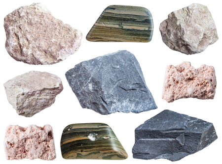 mudstone: collection of specimens of mud minerals isolated on white background Stock Photo