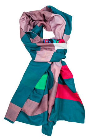 knotted scarf stitched from green, pink, red strips of silk fabrics isolated on white background